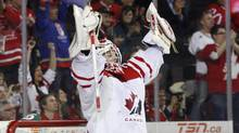 Team Canada's goalie Mark Visentin posted a shutout in the squad's 4-0 bronze-medal win over Finland Thursday afternoon. (Jeff McIntosh/The Canadian Press/Jeff McIntosh/The Canadian Press)