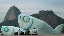 Giant fish made with plastic bottles are exhibited at Botafogo beach, in Rio de Janeiro June 19, 2012. The United Nations Rio +20 Conference on Sustainable Development is being held in Brazil from June 20-22 (Reuters)