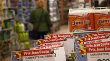 Sale signs at Jean Coutu store in Longueuil, Quebec, May 2, 2012. (Christinne Muschi For The Globe and Mail)