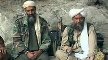 In this Oct. 7, 2001, file photo made from a video image, Osama bin Laden, left, and his top lieutenant, Egyptian Ayman al-Zawahri, are seen at an undisclosed location. (Al Jazeera/AP)