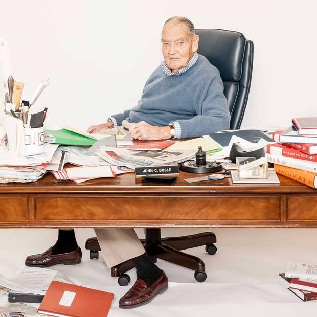 John Bogle in his office at Vanguard headquarters.