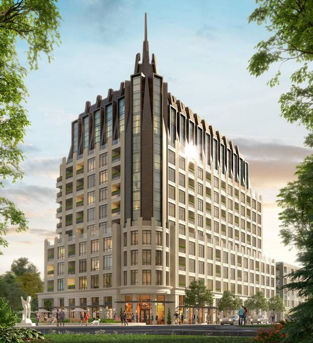 Rendering, 1451 Wellington Street West, Ottawa, Ont., designed by IBI Group and designated as a landmark building by Ottawa's Urban Design Review Panel.