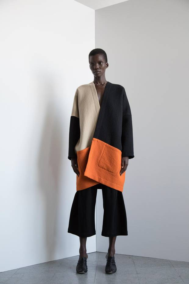 Zero + Maria Cornejo's outsized cotton coat adds a dash of colour without being overwhelming.