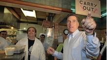Republican presidential candidate Mitt Romney makes a stop at the Senate Coney Island restaurant in Livonia, Mich., June 9, 2011. (REBECCA COOK/REBECCA COOK/Reuters)