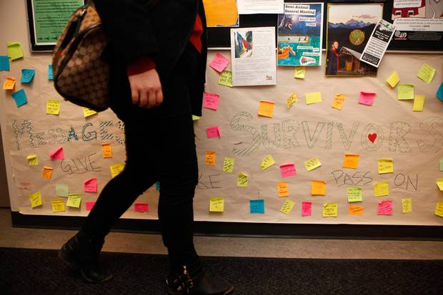 University of Victoria students share messages of support as part of an anti-violence campaign launched in September, 2015.