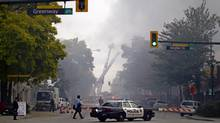 No injuries were reported from the blaze that flattened a block in New Westminster Thursday, however, eight retail stores and three offices were destroyed. (Ben Nelms For The Globe and Mail)
