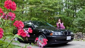 Opera singer Sondra Radvanovsky with her 2002 BMW station wagon.