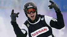 Canadian Jasey Jay Anderson celebrates after winning the second FIS World Cup snowboard-cross race in Whistler, Friday, Dec. 9, 2005. (The Canadian Press)