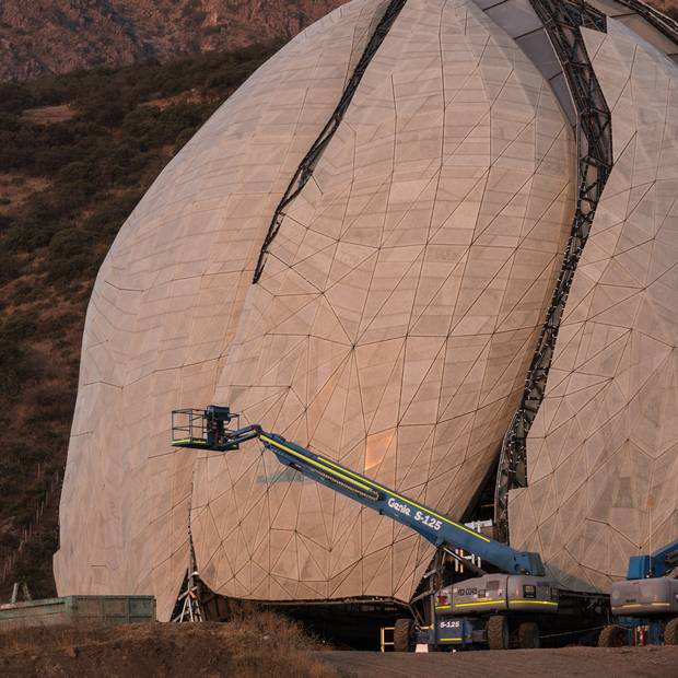 Construction continues on the Baha'i Temple in Santiago.