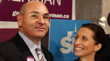 Former mayoral candidate Sarah Thomson throw her support behind candidate George Smitherman after dropping out of the race Sep 28, 2010. Recent polls suggested the race was down to the two from runners, Smitherman and Rob Ford. (Moe Doiron/Moe Doiron/The Globe and Mail))