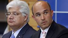Former RIM co-CEOs Jim Balsillie, right, and Mike Lazaridis. (Mike Cassese/Reuters)
