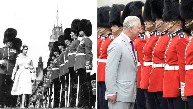 1967: Queen Elizabeth II inspects the Ceremonial Guard on Parliament Hill. 2017: Prince Charles inspects the Ceremonial Guard in Ottawa.