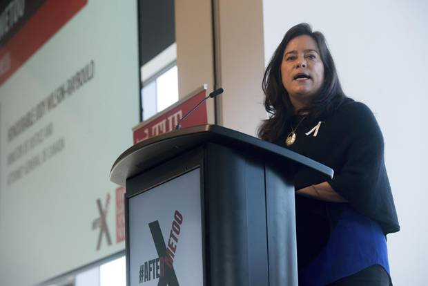 Minister of Justice Jody Wilson-Raybould delivers the keynote speech at the #Aftermetoo town hall held at The Globe and Mail's Toronto office on Wednesday, Dec. 6.