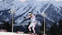 France's Martin Fourcade competes during the men's biathlon 20-kilometre individual race at the 2014 Winter Olympics, Thursday, Feb. 13 , in Krasnaya Polyana, Russia. (Jae C. Hong/AP)