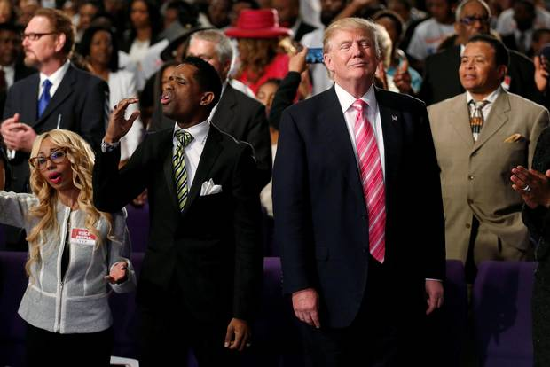 Donald Trump attends a church service in Detroit on Sept. 3.