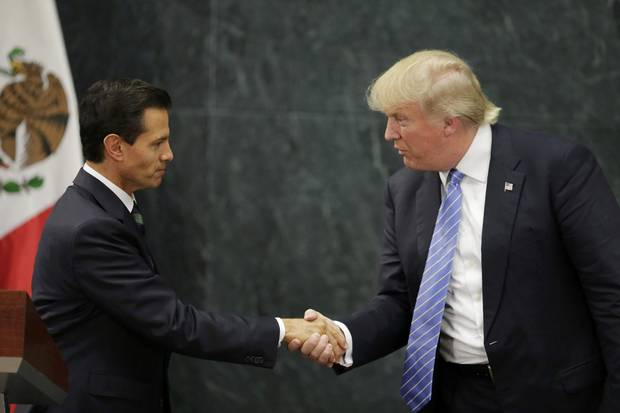 Aug. 31, 2016: U.S. Republican presidential nominee Donald Trump shakes hands with Mr. Pena Nieto shake hands at a press conference at the Los Pinos residence in Mexico City.