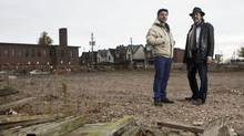 Developer Louie Santaguida, left, with Alan Tregebov, has spent more than $5-million on remediating this site, which once housed paint factories. (Matthew Sherwood For The Globe and Mail)