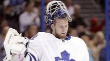 Toronto Maple Leafs goalie James Reimer reacts after giving up a goal to Tampa Bay Lightning left wing Ondrej Palat during the second period of an NHL hockey game Tuesday, April 8, 2014, in Tampa, Fla. (Associated Press)