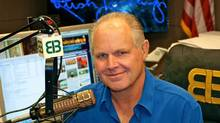 This photo provided by Rush Limbaugh shows Limbaugh in his Palm Beach, Fla. radio studio, the last week of Sept., 2009. (AP Photo/Photo courtesy of Rush Limbaugh)