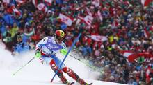 Marcel Hirscher of Austria skis during the first run of the men's Slalom race at the World Alpine Skiing Championships in Schladming February 17, 2013. (DOMINIC EBENBICHLER/REUTERS)