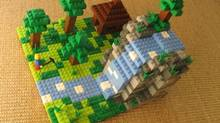 A Minecraft-like scene made using mostly square Lego bricks (Lego)