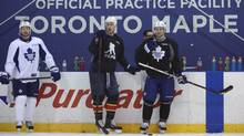 NHL players taking part in a practice are from left Toronto Maple Leafs players Tim Connolly; Florida Panthers forward Shawn Matthias, and Maple Leaf Jay McClement (RIGHT) are photographed during practice Jan 7 2013. With the NHL collective bargaining agreement yet to be ratified, various NHL players took to the ice at the Mastercard Centre for Hockey Excellence in Toronto for practice and scrimmage. (Fred Lum/The Globe and Mail) (Fred Lum/The Globe and Mail)