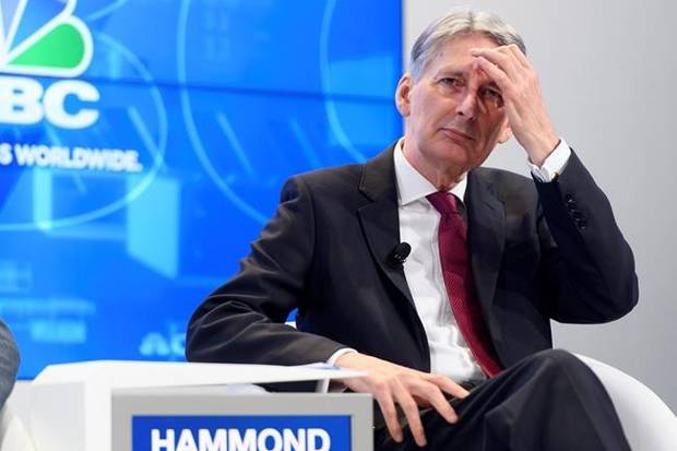 British Chancellor of the Exchequer Philip Hammond speaks during a panel session during the 48th Annual Meeting of the World Economic Forum, WEF, in Davos, Switzerland, Thursday, Jan. 25, 2018. (Laurent Gillieron/Keystone via AP)