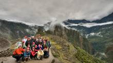Ralph Cochrane, far right, has organized four fundraising expeditions, including this one along Peru's Machu Picchu trail. (BRIAN WONG FOR THE GLOBE AND MAIL)