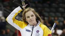 Manitoba skip Jennifer Jones celebrates defeating Team Canada during the tenth draw at the Scotties Tournament of Hearts curling championship in Kingston February 20, 2013. (MARK BLINCH/REUTERS)