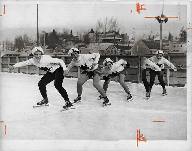 Unknown photographer, [Canadian Women's Olympic Speed skating team, Lake Placid, New York], February 1932, gelatin silver print.