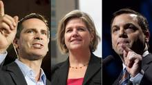 Left to right, Ontario Liberal Leader Dalton McGuinty, NDP Leader Andrea Horwath and Conservative Leader Tim Hudak.