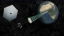"An artist's rendering provided by SpaceWorks Engineering, Inc. shows a modern design for an orbital power plant beaming renewable energy to the developing world in this image released to Reuters on November 12, 2011. The sun's abundant energy, if harvested in space, could provide a cost-effective way to meet global power needs in as little as 30 years with seed money from governments, according to a study by an international scientific group. Orbiting power plants capable of collecting solar energy and beaming it to Earth appear ""technically feasible"" within a decade or two based on technologies now in the laboratory, a study group of the Paris-headquartered International Academy of Astronautics said. (HANDOUT/Reuters)"