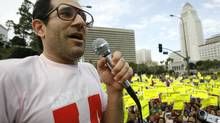 American Apparel owner Dov Charney speaks during a May Day rally protest march for immigrant rights, in downtown Los Angeles in this file photo taken May 1, 2009. (Mario Anzuoni/REUTERS)