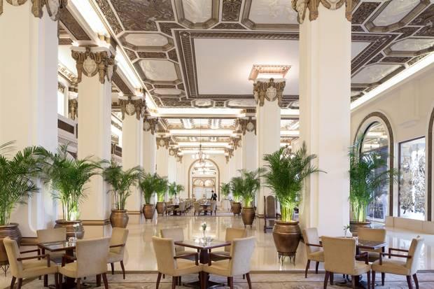 The lobby of the historic Peninsula Hotel.