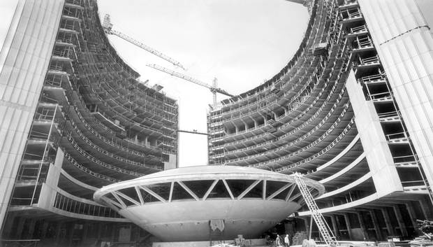 Toronto's new City Hall takes shape in May, 1964. The flying saucer-shaped section in the middle are the council chambers, with offices in the sweeping curved towers on either side.