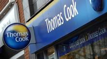 Shares in Thomas Cook crashed 67 per cent on Tuesday as the British travel firm said it was renegotiating debts and delaying annual results after a sharp deterioration in business. Thomas Cook's share price slumped to 13.48 pence in midday trade on London's second-tier FTSE 250 shares index. (Paul Ellis/AFP/Getty Images/Paul Ellis/AFP/Getty Images)