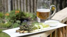 For roasted asparagus, shown with remoulade sauce, opt for a wheat ale flavoured with coriander, such as White Bark from British Columbia's Driftwood Brewery. (Kevin Van Paassen/The Globe and Mail)