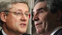 A combination photo shows Prime Minister Stephen Harper, left, and Liberal Leader Michael Ignatieff. (Reuters)