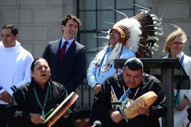 Ottawa, 2017: Prime Minister Justin Trudeau and Perry Perry Bellegarde, national chief of the Assembly of First Nations, celebrate National Indigenous Peoples Day.