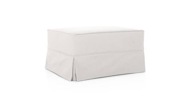 Slipcover ottoman, $529 to $779 at Pottery Barn (www.potterybarn.com)