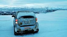2010 Smart fortwo Passion tackles the extreme ice and snow. (Michael Bettencourt for The Globe and Mail)