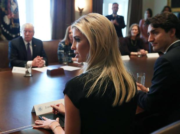 Mr. Trump sits opposite Mr. Trudeau and his daughter, Ivanka, at Monday's round-table discussion.