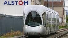 A tramway made by French train maker Alstom drives past the Alstom production site in Villeurbanne, April 25, 2014. (ROBERT PRATTA/REUTERS)