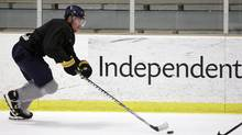 Unrestricted free agent Jochen Hecht skates during an informal NHL hockey practice in Amherst, N.Y., Monday, Sept. 24, 2012. (Associated Press)