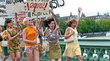 "(left to right) Andrea Riseborough, Jaime Winstone and Sally Hawkins in a scene from ""Made in Dagenham"""