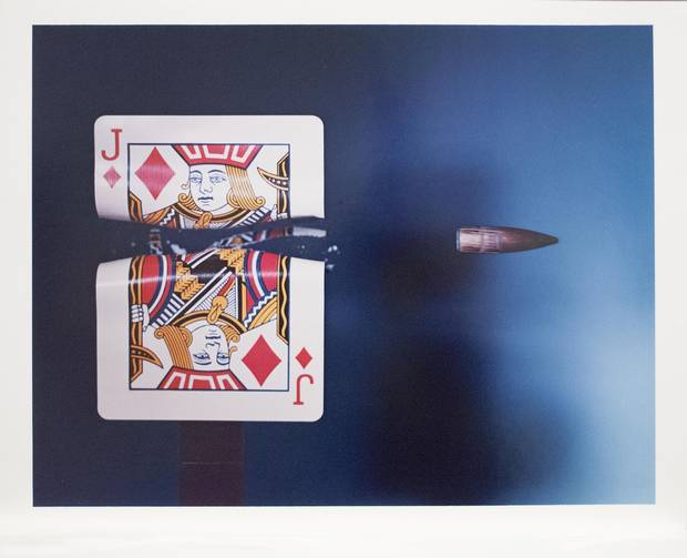 Harold (Doc) Edgerton's Bullet Through Jack – 1964 (printed in 1985), dye transfer print on paper, 40.8 x 50.8 cm. Gift of Angela and David Feldman, the Menkes Family, Marc and Alex Muzzo, Tory Ross, the Rose Baum-Sommerman Family, Shabin and Nadir Mohamed, 2013.