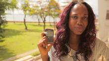 Nigerian student Chidera Anukam, 18, with her BlackBerry. RIM's market share may have crumbled amid stiff competition from the iPhone in some developed countries, but the BlackBerry brand has remained strong in a number of volatile emerging markets such as Nigeria and Venezuela. (Iain Marlow/The Globe and Mail)