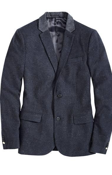 Nep blazer with contrast collar, $149