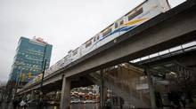 An eastbound Skytrain departs from Main Street-Science World Station in Vancouver, Jan. 8, 2013. (DARRYL DYCK For The Globe and Mail)