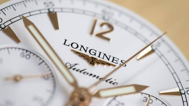 Longines' famous winged hourglass logo is the oldest registered trademark in the watch industry. (VALENTIN FLAURAUD/REUTERS)